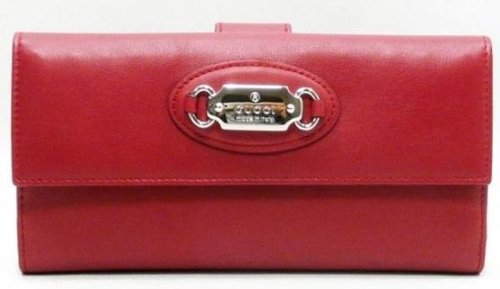 GUCCI LEATHER CHECKBOOK CLUTCH WALLET  RED (PUNCH)