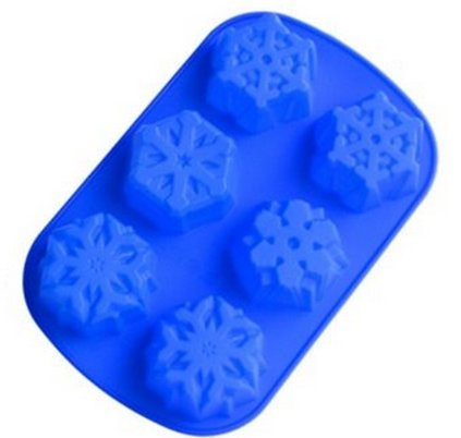 Allforhome 6 Cavity Even Snowflakes Silicone Cake Baking Mold