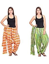 Rama Set Of 2 Printed Green & Orange Colour Cotton Full Patiala With Dupatta Set