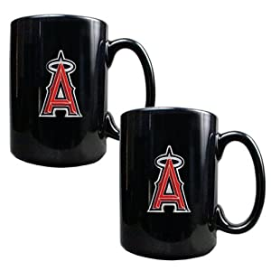 MLB Los Angeles Angels Two Piece Black Ceramic Mug Set - Primary Logo