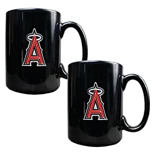 MLB Los Angeles Angels Two Piece Black Ceramic Mug Set - Primary Logo