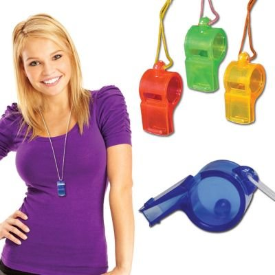 Crystal Whistle Necklaces (1 Dozen) - Bulk
