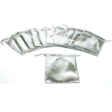 12 Pouches Silver Gift Bags Drawstring Jewelry Favor 3""