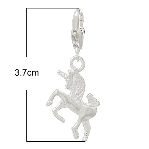 HOUSWEETY-10-Pendentifs-Licorne-Argente-pour-Chaine-forcat-37x16mm