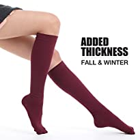 Fytto Style 1020 Women's Comfy Compression Socks, 15-20mmHg, Knee High, Burgundy