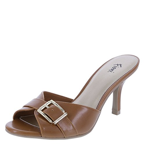 Fioni Women's Cognac Women's Marion Buckle Slide 8.5