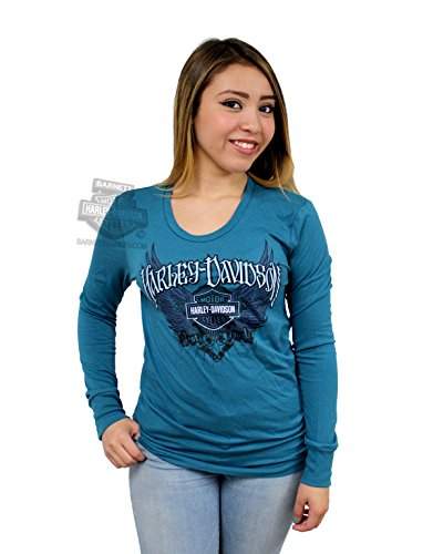 Harley-Davidson Womens Biker Queen Winged B&S Blue Long Sleeve T-Shirt - MD