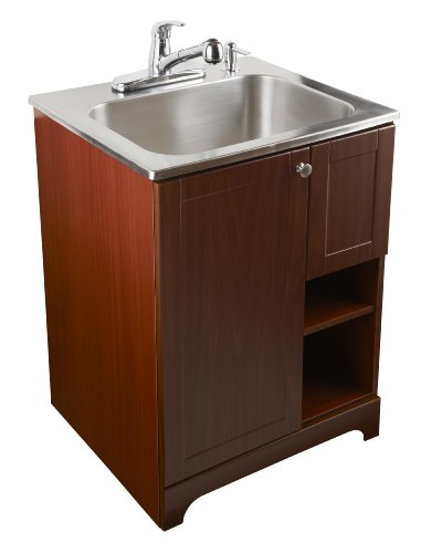 Laundry Sink Cabinet Stainless Steel : ... In-One Stainless Steel Utility Sink with Cherry Cabinet Kit, 20-Gallon