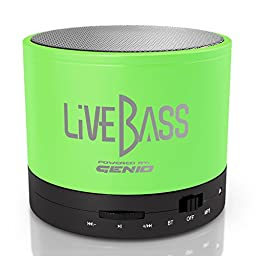 LiveBass Portable Wireless Bluetooth Speaker - High Quality Bass System - Home, Outdoor & Travel Use (Lime Green)