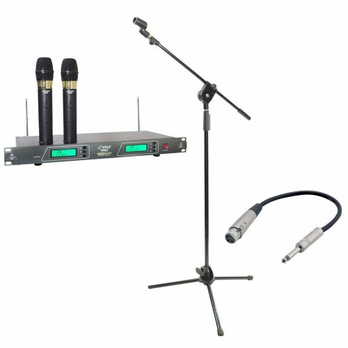 Pyle Mic And Stand Package - Pdwm2550 19'' Rack Mount Dual Vhf Wireless Rechargeable Handheld Microphone System - Pmks3 Tripod Microphone Stand W/ Extending Boom - Ppfmxlr01 12 Gauge 6 Inch 1/4'' To Xlr Female Cable