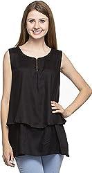 Dashy Club Women's Regular Fit Top (VV-9011-AC-BLACK TOP, Black, S)