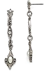 Silver-tone Downton Abbey Clear Glass & Simulated Pearl Earrings
