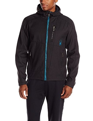 Spyder Men'S Patsch Novelty Jacket, Black Tech Flannel/Electric Blue, Large