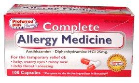 Preferred Plus Pharmacy Complete Allergy Medicine Antihistamine Capsules 24 Ea