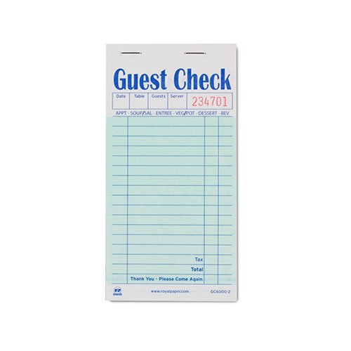 Royal Green Guest Check Paper, Interleaved Carbon 2 Part Booked, Package of 10 Books (Restaurant Check Pad compare prices)