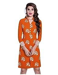 Surat Tex Orange Color Faux Georgette Party Wear Embroidered Kurti-E344KI1006SMXL