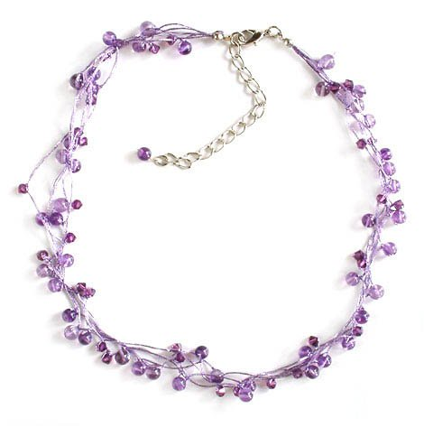 Amethyst beaded necklace, 'Radiance' 0.4