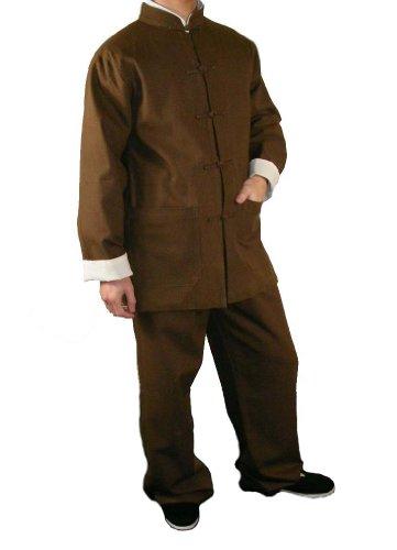 100-Baumwolle-Braun-Kung-Fu-Kampfkunst-Tai-Chi-Uniform-Anzug-XS-XL-oder-Von-Ma223schneider