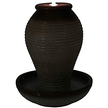 Sunnydaze Decor Bubbling Pottery Vase Ceramic Outdoor Water Fountain with LED Lights, 26-Inch