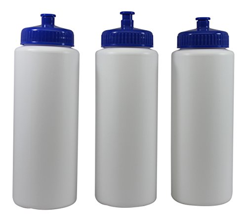 Sports Squeeze Water Bottles Push/pull Cap Wide Mouth 32 Ounce Bpa-free Plast... (Sport Bottles Bulk compare prices)
