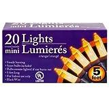 20 Mini Lights Orange 5 Ft - Halloween Indoor Party Decorations UL Listed