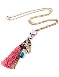 Glitz Fashion Pink Tassel Drop Pendant Long Chain Necklace For Women