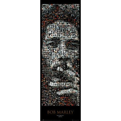 Bob Marley – Mosaic Door Poster (Smoking Joint) (Size: 21″ x 62″)
