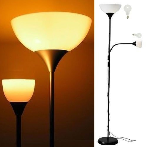 Modern floor lamp with adjustable reading light black for Ikea floor uplight reading lamp 69 black