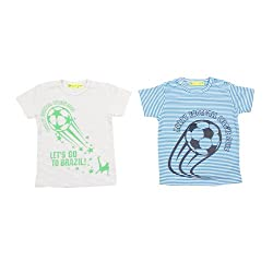 Buzzy Baby Boys' Cotton 2Pc Pack Football T-Shirt (ROONEY_Blue/Grey_6-9M)