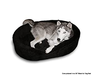 """Dog Bed King Cuddler American Made Large Black Fur Pet Bed. Outside Dim. 33x23x7"""". Inside Dim. 30x20x7"""". Removable Washable Cover."""