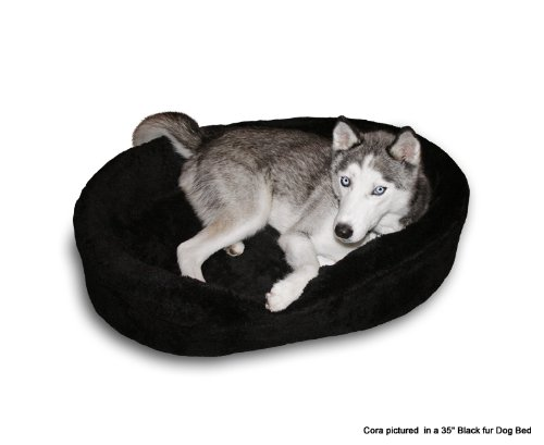 """Dog Bed King Usa Cuddler. Xl-Extra Large Black Fur. Outside Dim. 42X32X7"""". Inside Dim. 38X28X7"""". Removable Washable Cover. 35"""" Pet Bed Pictured."""