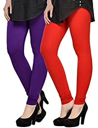 Kjaggs Women's Cotton Lycra Regular Fit Leggings Combo - Pack Of 2 (KTL-DB-2-7, Purple, Red)