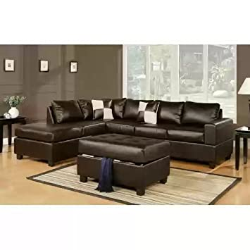 3 PC BONDED LEATHER SECTIONAL + STORAGE OTTOMAN IN ESPRESSO BY POUNDEX