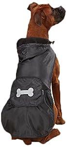 Casual Canine Fleece Lined Stowaway Rain Jacket, XX-Small, Black