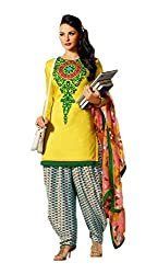 Adaa Women's Cotton Unstitched Dress Material (OM-KC-04_Yellow_Free Size)