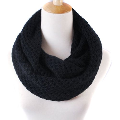NSSTAR Winter Warm Weave Knitting Crochet Women Neck Warmer Infinity Scarves Loop Scarf Great Christmas Gift with 1PCS Free Cup Mat Color Ramdon (Black)