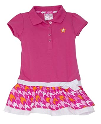 (A2QS) Kidzone Girls Short Sleeve Knit Polo Tiered Dress (Sizes 2T-6x) in Hot Pink, 6X