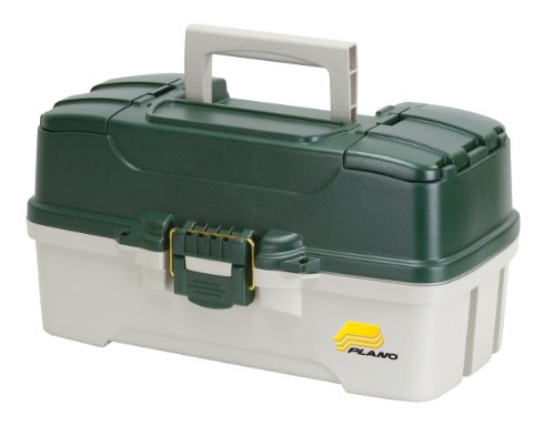 Plano 3-Tray Tackle Box with Dual Top Access, Dark Green Metallic/Off White (Tackle Tray compare prices)