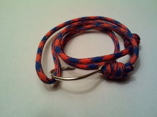 Orange Blue University of Florida Gator Fishing Hook Paracord Wristlet/Bracelet (025800039104)