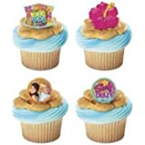 12 Teen Beach Movie Summer Fun Plastic Cupcake Rings Party Favors Cake Toppers