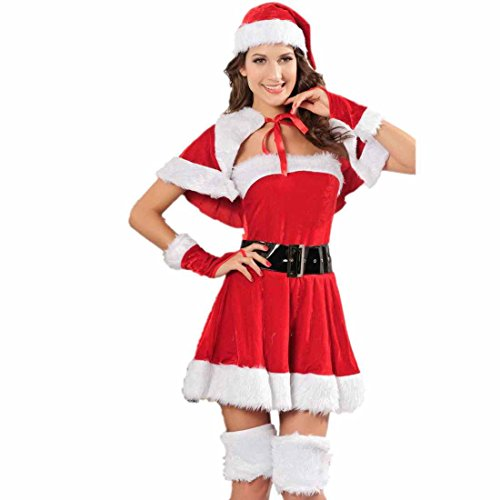 Dear-Lover Belt Gloves Hat Velvet Miss Santa Costume Cloak Red White Black