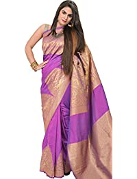 Exotic India Hyacinth-Violet Banarasi Saree With Woven Temple Border In - Purple