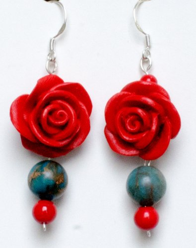 Red Rose Sterling Silver Earrings Flower Jewelry Gifts