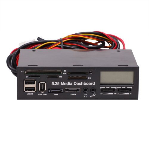 "Generic 5.25"" Media Dashboard Multi-Function Front Panel I/O Ports Lcd Display Esata Media Audio Card Reader"