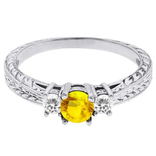 0.62 Ct Round Yellow Sapphire White Sapphire 14K White Gold 3-Stone Ring