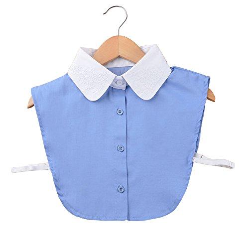 Vococal - Staccabile Camicia Cravatta Camicia Mezza Falso Collare Falsa Cotone per Donne con Busto Elastico (Bianco)