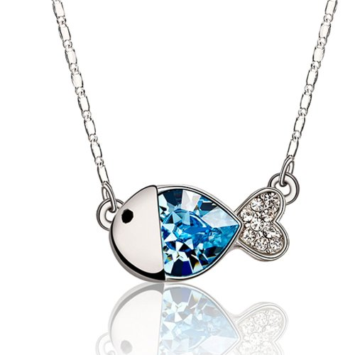 Chaomingzhen 18k White Gold Plated Charm Blue Austrian Crystal Nemo Fish Necklaces Pendants for Women Fashion Jewellery for Girlfriends with Chain 18