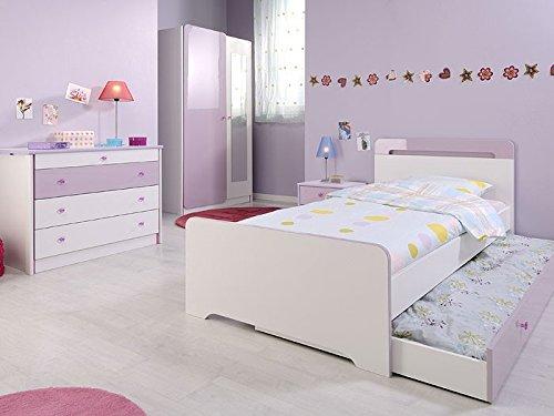 Kinderzimmer 5-teilig weiss lila, Kleiderschrank + Bett + Nako + Kommode, Jugendzimmer Janine 2 günstig online kaufen