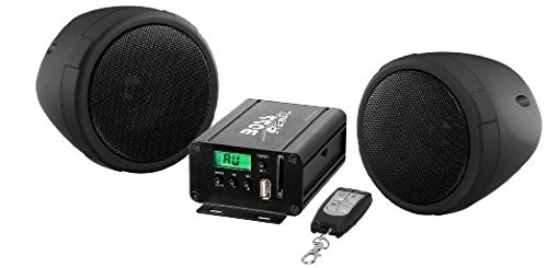 BOSS AUDIO MCBK500 Black 600 watt Motorcycle/ATV Sound System with Built-in FM Tuner with One Pair of 3 Inch Weather Proof Speakers, Aux Input and Volume Control (Cycle Sounds compare prices)