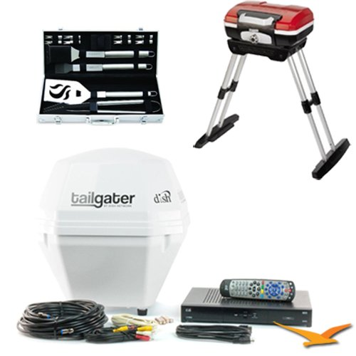 DISH Tailgater Portable Satellite TV & ViP Receiver Ultimate Tailgater Bundle. Bundle Includes DISH Tailgater Portable Satellite TV Antenna & ViP 211k Receiver Bundle - VQ2510, CGG-180 Gourmet Portable Gas Grill with VersaStand, and 14-Piece Deluxe Grill